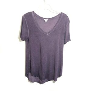 BP V neck burn out purple short sleeve tee
